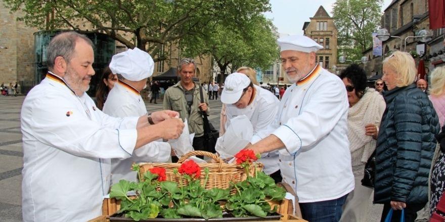 Bäcker im Einsatz in der Dortmunder Innenstadt.