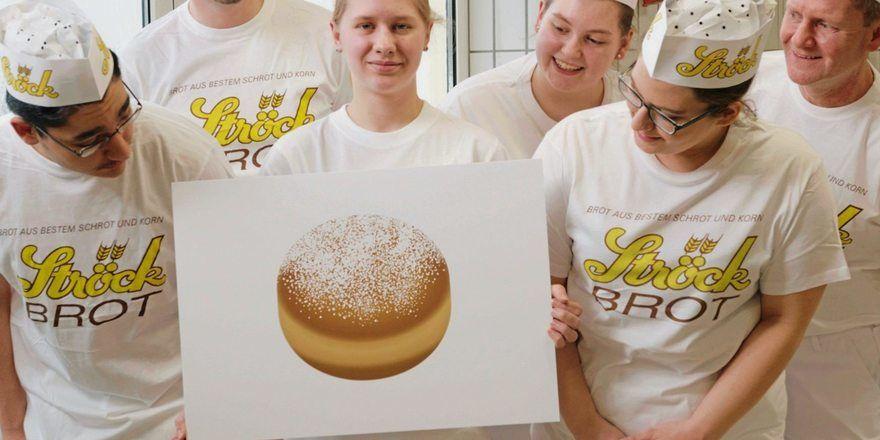 Die Bäckerei Ströck setzt sich für die Einführung eines Krapfen-Emojis ein. Das Bild in der Mitte zeigt, wie das neue Emoji aussehen könnte.