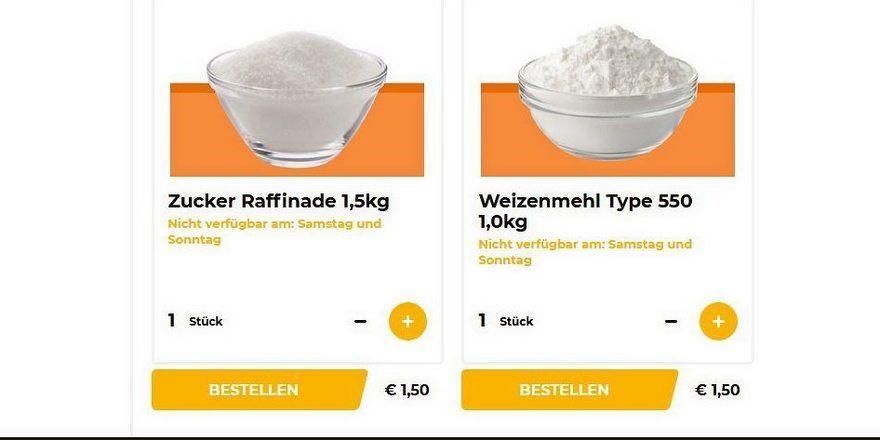 Lieferdienst der Bäckerei Brinker: Mehl im Angebot.