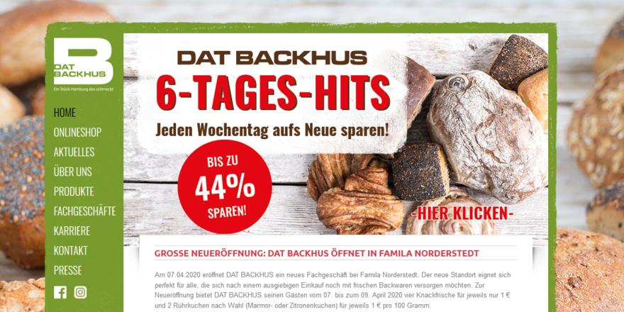 "Die Homepage von ""Dat Backhus""."