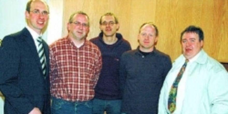 Obermeister Matthias Zieseniß (von links) und sein wieder gewähltes Vorstandsteam: Thomas Wucherpfennig, Torsten Freimann, Markus Grube und stellv. OM Godehard Höveling.