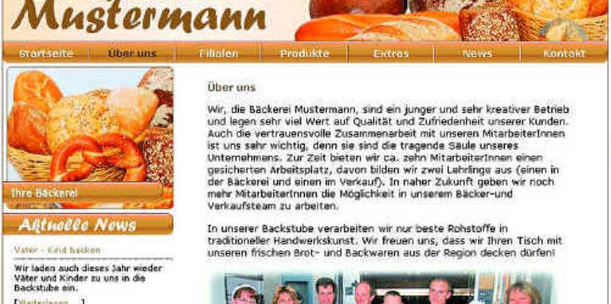 So wie diese Musterseite unter www.baeckerei-mustermann.de könnte eine betriebseigene Homepage aussehen.
