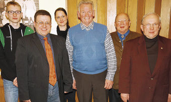 Der neue Vorstand: Dominik Abert, Markus Gstader, Annabell Wille, Martin Scholz, Gerd Kauschke und Willi Sroka (von links).