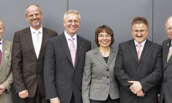 Verbandsspitze in Baden: Norbert Magin, Klaus Tritschler, Fritz Trefzger, Ute Sagebiel-Hannich, Horst Gerber, Walter Frick.