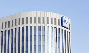 Neues Logo am Stammsitz des dfv in Frankfurt.