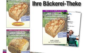 Tue Gutes und rede darüber: Werbematerialien rund um Chia-Brot-Spezialitäten.