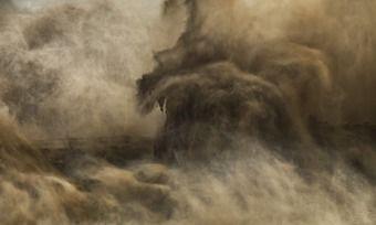Dieses Foto der Ausstellung ist am Gelben Fluss in der chinesischen Provinz Henan entstanden.