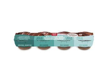 So sieht die Puddingpackung mit unterschiedlichem Zuckeranteil aus, die Rewe ab 15. Januar seinen Kunden anbietet.