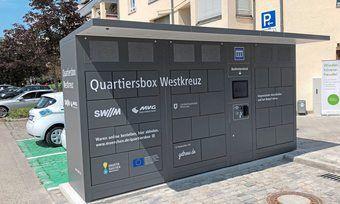 So sehen sie aus: Die neuen Quartiersboxen, die den Einkauf erleichtern sollen.