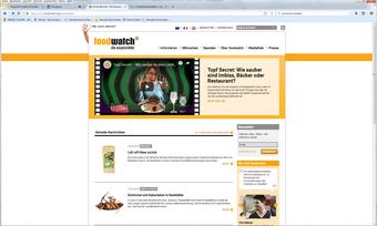 """So wirbt Foodwatch auf der Homepage für die Internetplattform """"Topf Secret""""."""