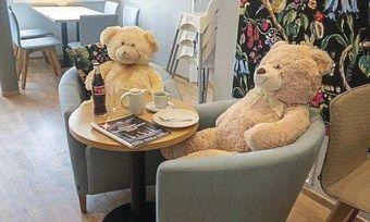 Sollen für Abstand sorgen: Plüschbären in einem Café.