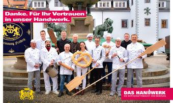 So wirbt die Innung Freiberg nach ihrem Gewinn auf Plakaten fürs Bäckerhandwerk.